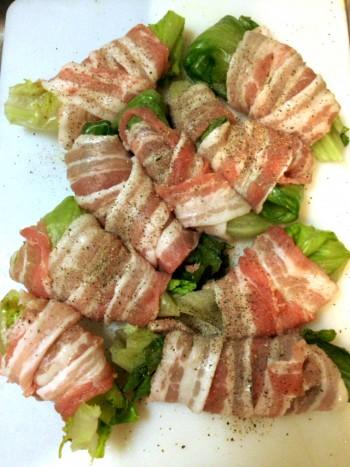 一玉瞬殺。10分完成豚バラレタス巻きはマヨ山椒がgood(糖質7.6g)