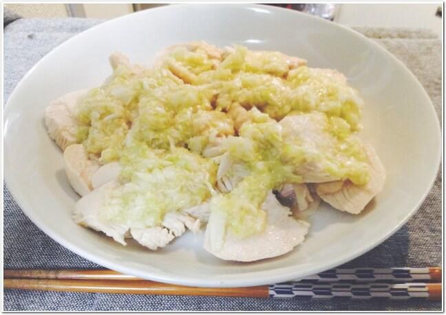無限に旨い絶品蒸し鶏風ネギ塩ニンニ