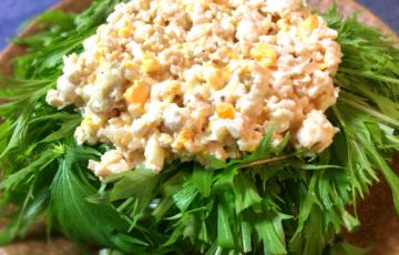 主食で活躍する鶏むねタルタルの水菜サラダは納得の食べ応え(糖質3.8g)