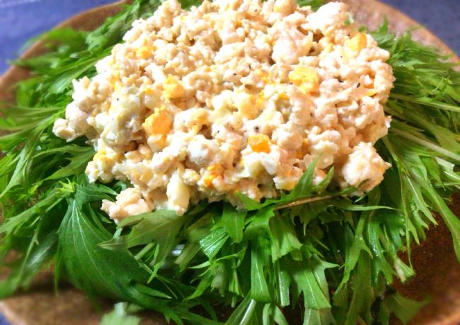 主食で活躍する水菜鶏むねタルタルサラダは納得の食べ応え(糖質制限)