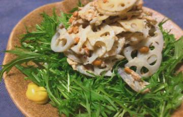 サラダ美味しい。水菜とサバ納豆のレンコン和からしサラダ(糖質制限)