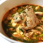脳までしびれる。出汁が染みこむ豚ネギ豆腐チの情熱的旨さ。(糖質16.8g)
