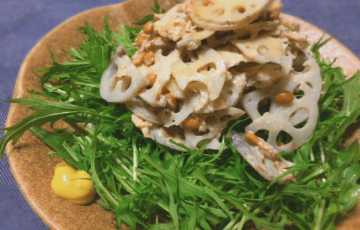 いざ旨みの森。サバ納豆の水菜レンコン和からしサラダ(糖質10.1g)