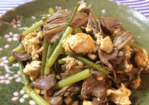 相性文句なし。舞茸と砂肝のゆず胡椒バター炒め(糖質4.1g)