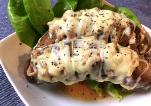 野菜の美味季節。クミンチーズのナス豚ハッセルバック。(糖質5.9g)
