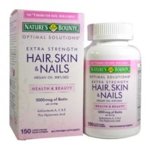 Nature's Bounty Optimal Solutions へア、スキン&ネイル、エクストラストレングス(Hair Skin & Nails Extra Strength) 150 Rapid Release Liquid Softgels