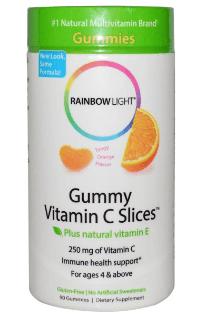 Rainbow Light, グミ、ビタミンCスライス、タンジーオレンジ味、90グミ入り