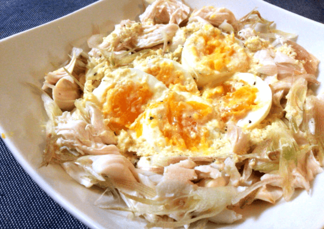 極さっぱり卵サラダ。ミョウガ鶏のレモンジンジャーソース(糖質2.0g)