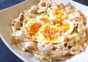 極さっぱり卵サラダ。ミョウガ鶏のレモンジンジャーソース(糖質2.9g)