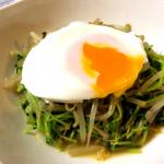 超節約系常備菜。ミーゴレン風豆苗もやし&簡単半熟卵(糖質4.9g)