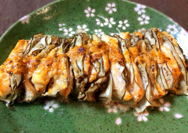 オーブン謝謝。ナス鶏ミルフィーユのオーロラマスタード(糖質5.6g)