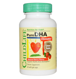 ChildLife, チャイルドライフ, Pure DHA Chewable!, Natural Berry Flavor, 90 Soft Gel Capsules