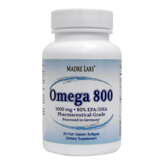 Madre Labs, Omega 800, Pharmaceutical Grade, German Processed, 1000 mg, 30フィッシュゼラチンソフトジェル