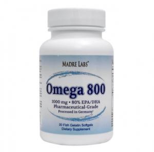 Madre Labs, Omega 800, Pharmaceutical Grade, German Processed, 1000 mg, 30フィッシュゼラチンソフトジェル
