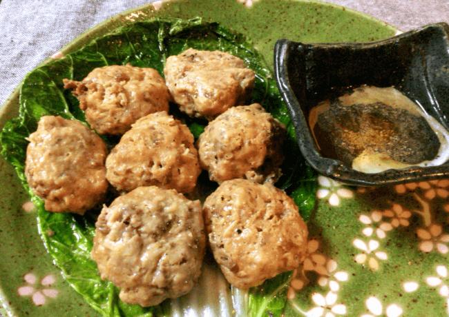 皮なしプリプリ。酢胡椒が旨い肉汁砂肝シューマイ(糖質8.7g)