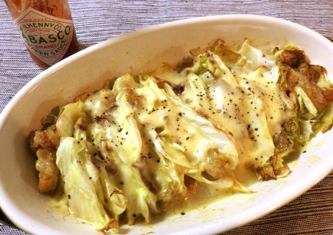 白菜激ウマ。エスニック豚の白菜ミルフィーユチーズ焼き。(糖質2.9g)