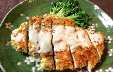 ガンガン行こうぜ。マヨバルサミコ風バジル粉豆腐チキンカツ。(糖質3.9g)