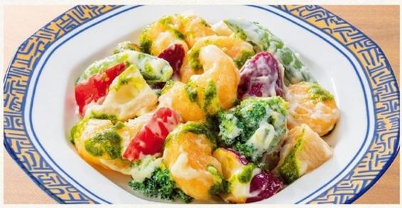 エビと野菜の特製マヨネーズ~青山椒ソース添え~