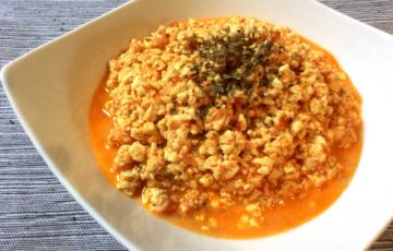 海鮮エキスが猛ダッシュ。エビマヨ生姜のトマトソイリゾット。(糖質8.1g)