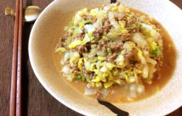 絶かんたん常備菜。味噌バターオイスターの白菜肉そぼろ。(糖質6.3g)