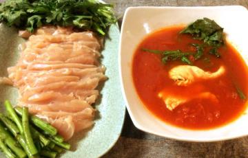 5分で鍋奉行。美味しい白だしトマトのカレー鶏しゃぶ。(糖質6.8g)