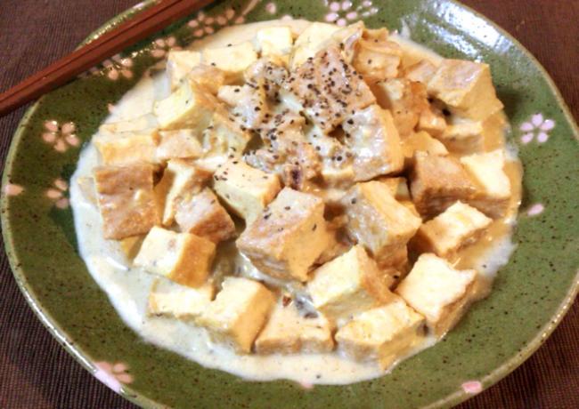 それいけ濃厚。厚揚げのホタテグリーンカレー味噌ソース煮。(糖質6.1g)