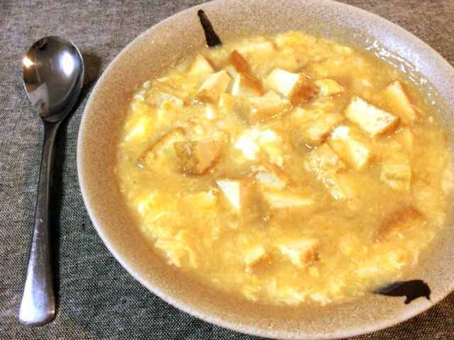 お粥の助っ人。本格トロリ厚揚げ大蒜タマゴ中華スープ。(糖質6.9g)