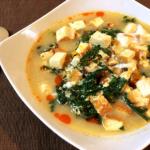 にじり寄るお勧め品。春菊厚揚げの火鍋白湯雑炊。(糖質4.5g)