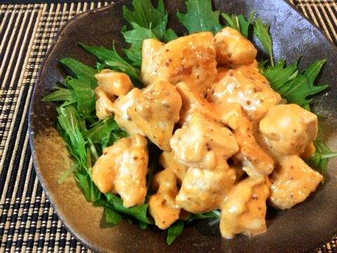 激プリむね肉オーロラマスタード水菜サラダ(糖質6.3g)