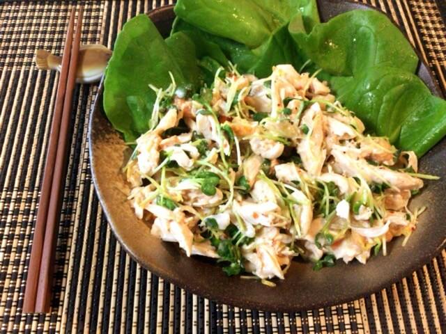 柔らか上級。ヨーグルトキムチのポン生姜ささ身サラダ(糖質4.1g)