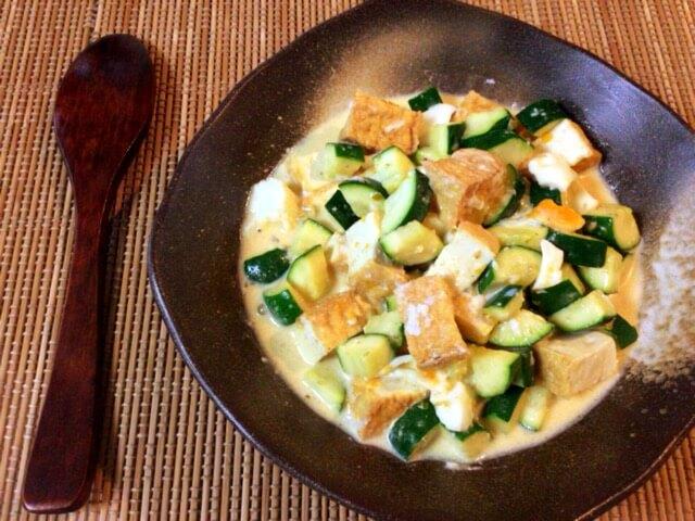 ほく甘湧き出る。茹でズッキーニの厚揚げ柚子胡椒タルタル(糖質3.3g)