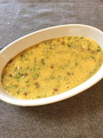マヨ納豆のコンソメチーズ焼きオムレツ(糖質3.7g)