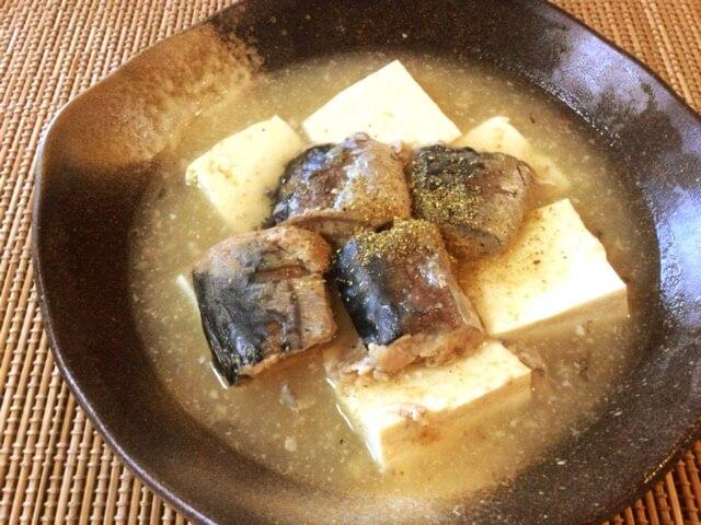 とろり食感旅行。サバ缶豆腐の生姜あんかけ塩麹煮込み(糖質6.8g)