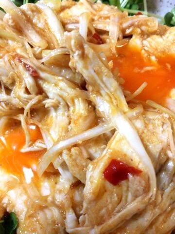 頬膨らむユッケ風味噌チゲ白切鶏(糖質3.3g)