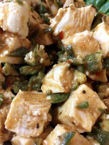 マリネ風鶏むねのオクラ辛味噌バジル(糖質4.3g) (2)
