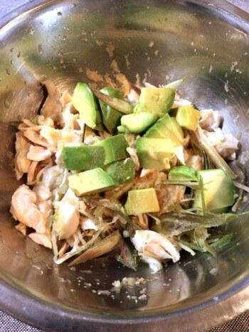 アボカド茗荷の酢醤油和風ささ身サラダ(糖質3.9g)