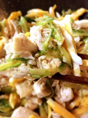 丸ごと薄ゴーヤの絶品塩麹冷やし中華サラダ(糖質4.7g)