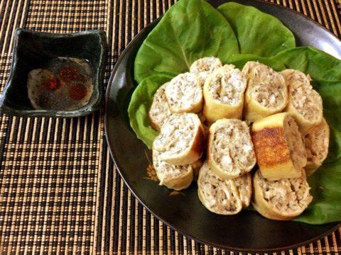 オイマヨ鯖缶チキンの辣油酢胡椒ロール(糖質4.4g)
