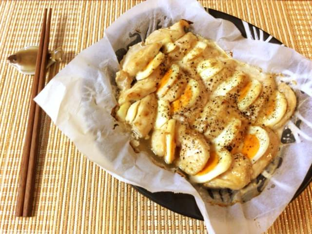 お帰り最強タッグ。鶏胸卵の柚子胡椒マヨペッパーオーブン(糖質3.7g)