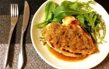 お祝いの旨さ。鶏むね林檎シャリアピンバターステーキ(糖質7.0g)