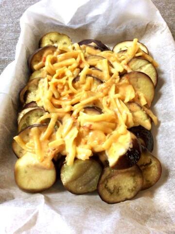 激柔ナスのマヨ豆板醤コンソメチーズ焼き