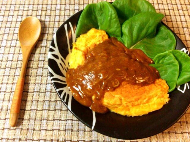 ポムりたい日に。ふわり豆腐オムレツのカレー明太チーズ(糖質3.1g)
