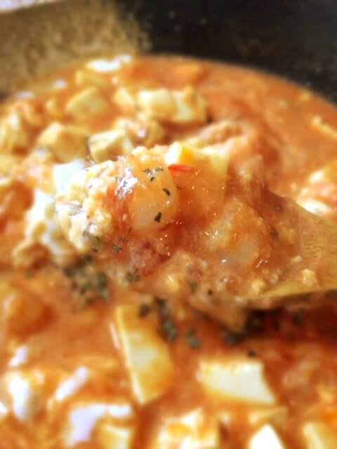 だしクミンの美味海老トマト卵とじスープ