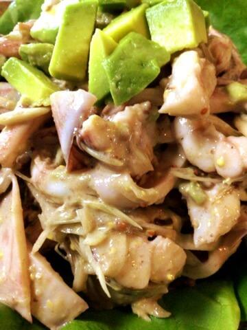 イカアボカドの絶品茗荷クミンマスタードサラダ