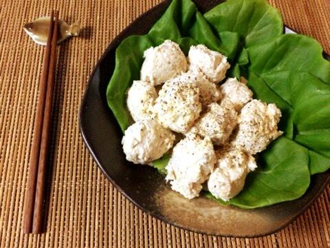 刻み生姜の黒酢蜂蜜マヨ鶏団子