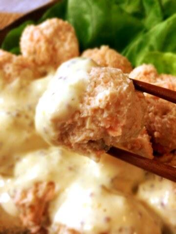 鮭ささみの柔らかタルタルサラダ風団子
