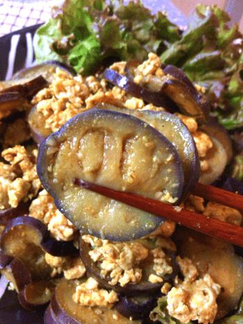 トロ甘大盛り。焦がしマヨカレークミンの茄子たま香味炒め(糖質7.3g)