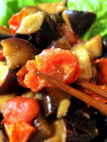 茄子トマトの甘旨蜂蜜バルサミコ常備菜