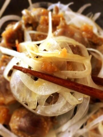 砂肝オニオンの和風蜂蜜BBQサラダ