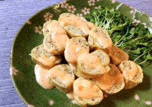 おつまみ最高。スイチリマヨの油揚げチキン生姜ロール(糖質8.9g)